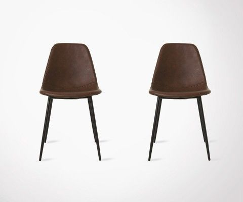 Set of 2 Modern Design Dining Chair - Chocolate Faux Leather
