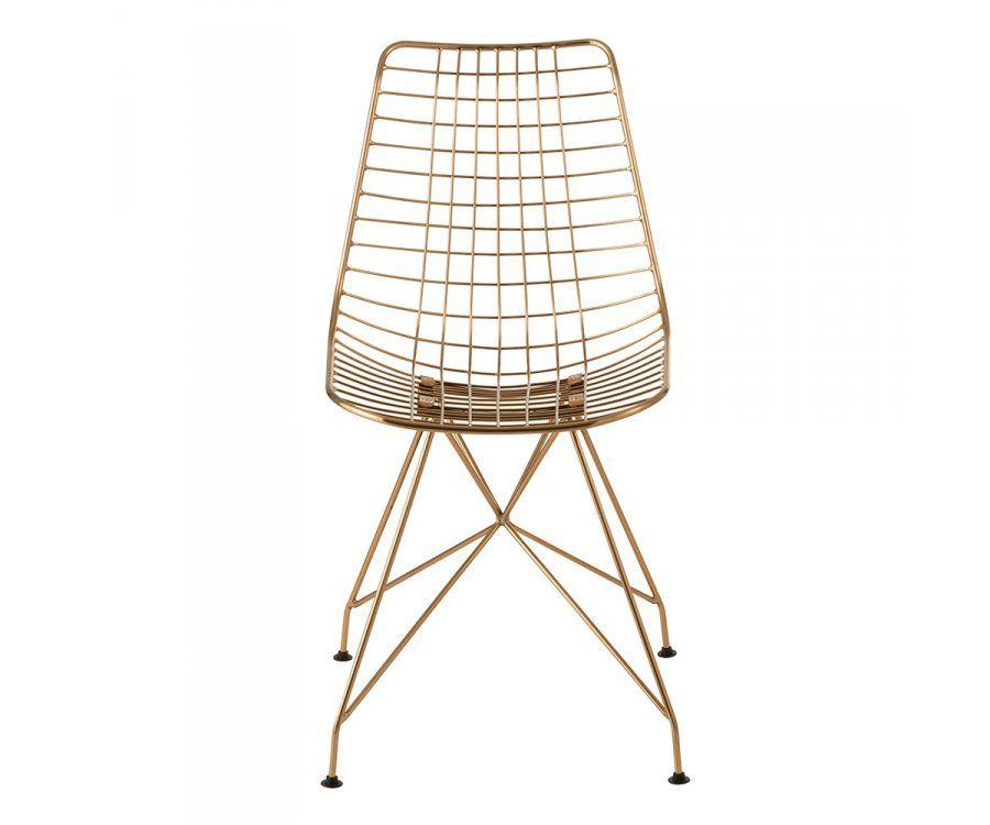 Chaise design en métal doré KLINE