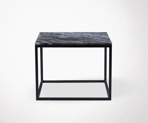 Table basse carrée marbre gris DREZ - 60cm
