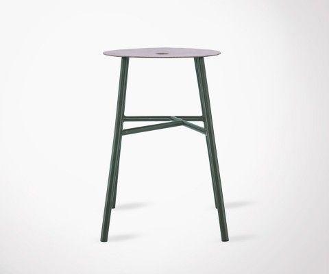 Tabouret de bar métal vert style industriel KELTER