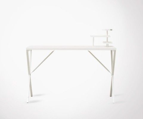 White Metal Industrial Design Desk - 120cm