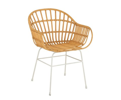 Chaise avec accoudoirs en rotin et métal blanc ZALI