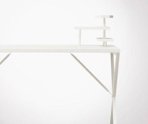 Bureau métal blanc style atelier loft TRAVIS - 120cm
