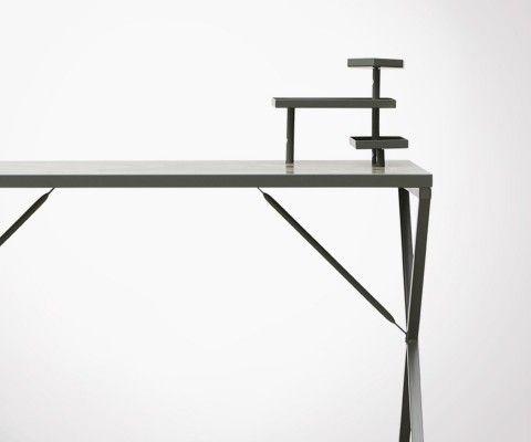 Bureau métal vert militaire style atelier loft TRAVIS - 120cm