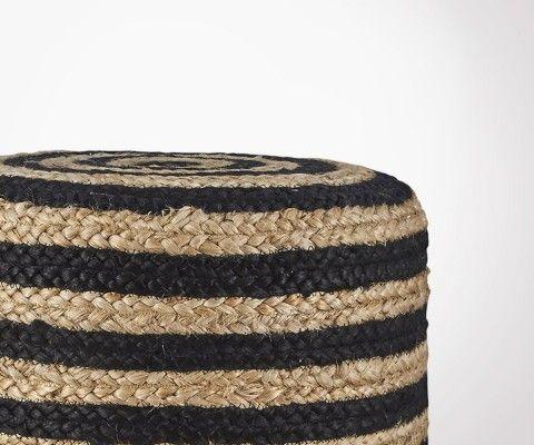 Pouf design ethnique en jute naturel et noir HEMPNER