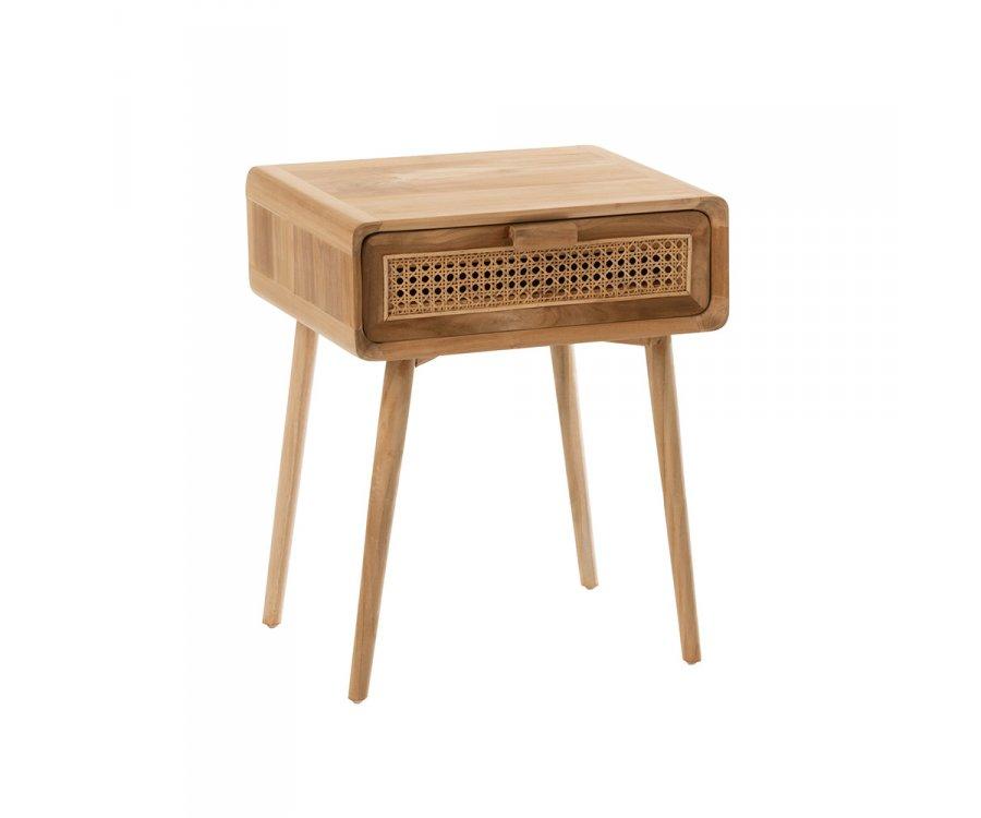 Table de chevet en teck et cannage avec tiroir SABLA