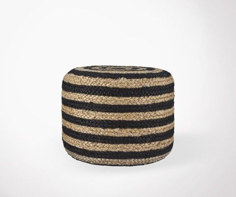 HEMPNER Black And Natural Jute Puff