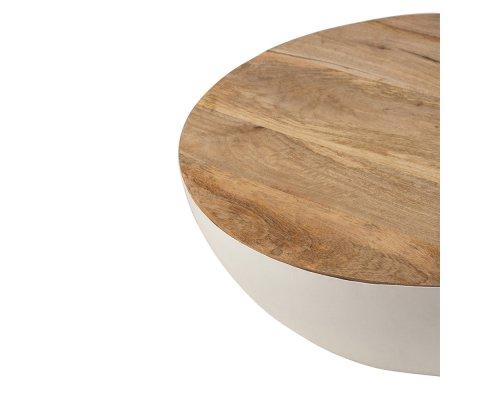 Table basse ronde en bois et métal blanc RAFIK