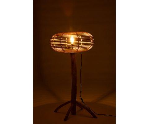 Lampe à poser en rotin et bois de teck ENZO