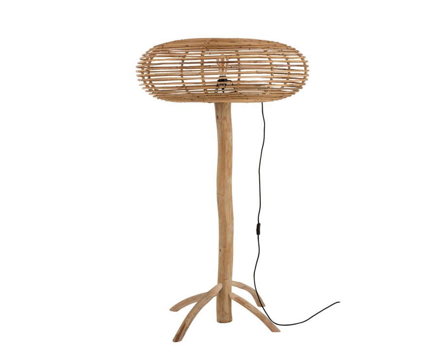 Lampadaire bohème en bois de teck abat-jour rotin ENZO