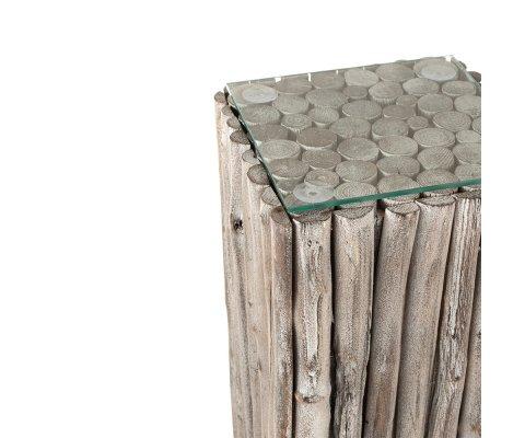 Table d'appoint carrée haute en bois et verre APRIL