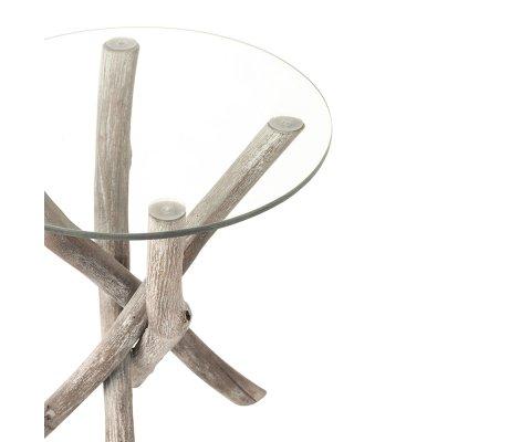 Table basse ronde en bois et métal JOHN