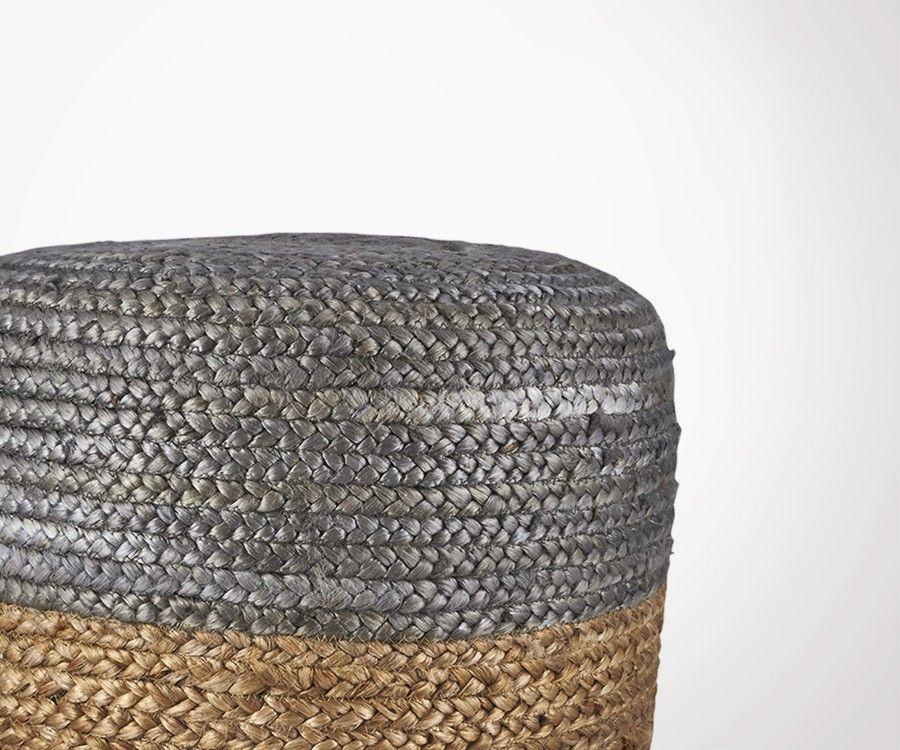Pouf design ethnique en jute naturel et gris HEMPNER