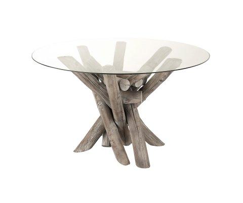 Table à manger ronde pieds bois palteau verre LIAM