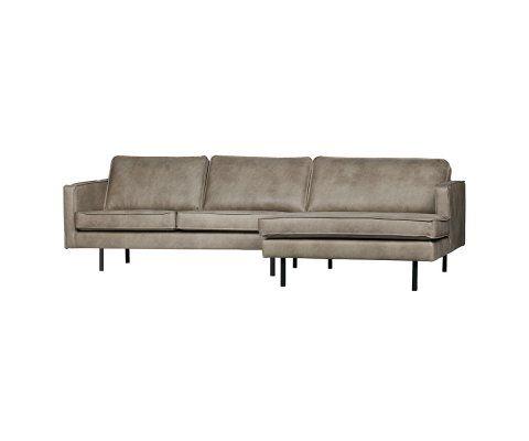 Grand canapé d'angle droit cuir rétro COLORADO