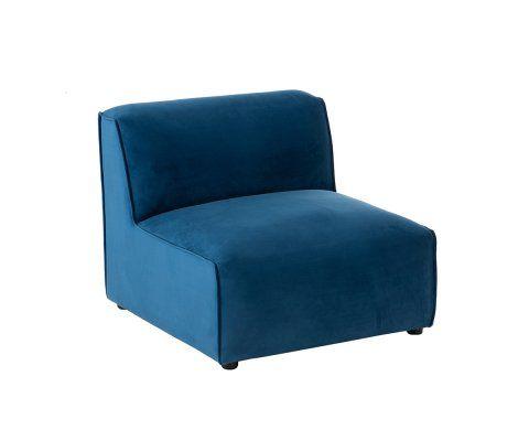 Fauteuil design pour canapé modulable en tissu bleu PLUZ
