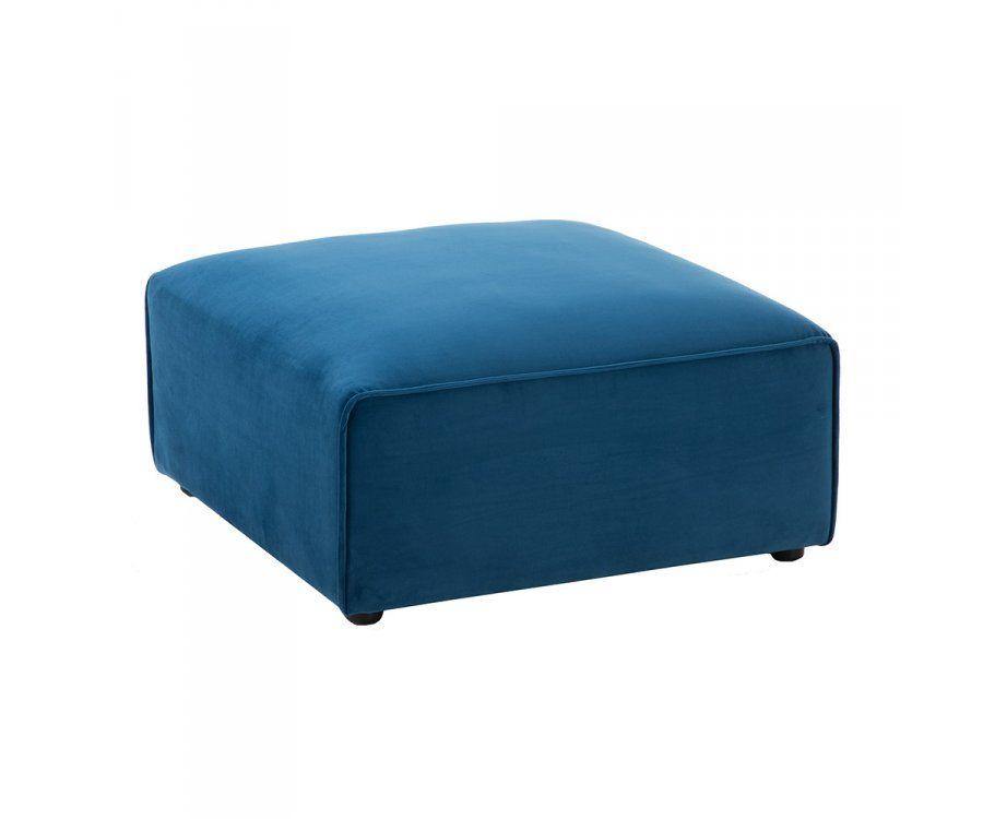 Pouf design carré en tissu bleu PLUZ