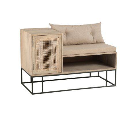 Petit banc design avec placard bois cannage UKIALA