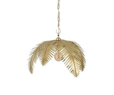 Suspension feuille de palmier métal doré PALMERAIE