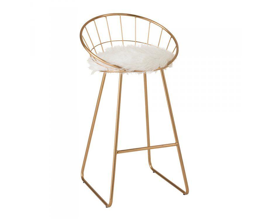 Chaise de bar design en métal doré FLY