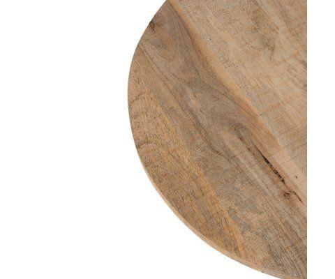Table de bar 65cm pied central métal plateau bois BROK