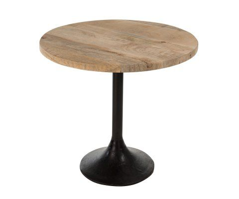 Table de bar 65cm pied central métal plateau bois BROK