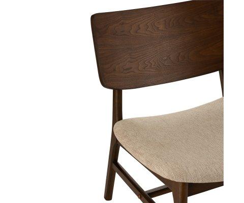 Fauteuil lounge en bois et tissu beige HAVEA