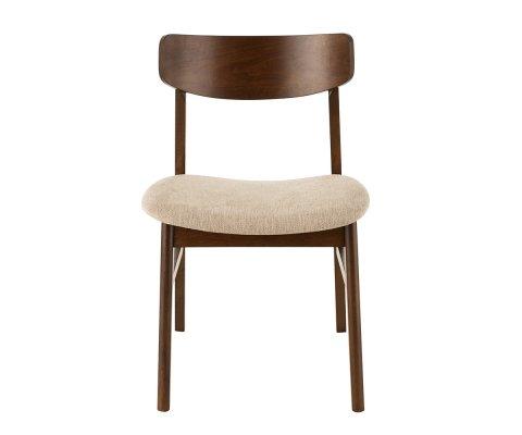 Chaise rétro en bois assise tissu beige HAVEA