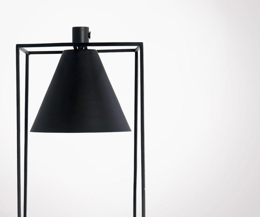 Lampe à poser métal noir blanc KUBIX