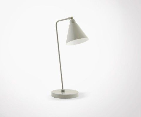 Lampe de table design métal gris blanc JEAN