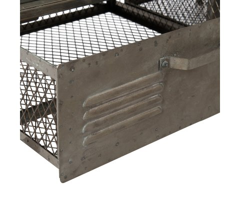 Armoire industrielle sur roulettes en métal gris SAZ