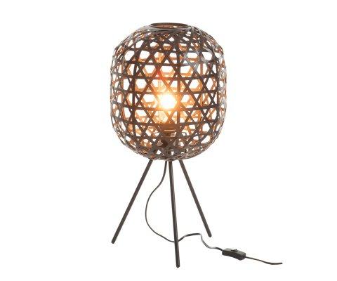 Lampe design sur pieds en bambou et métal noir LONELY