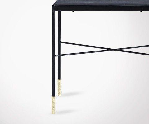 Table basse métal gris pieds dorés OXY - 40cm