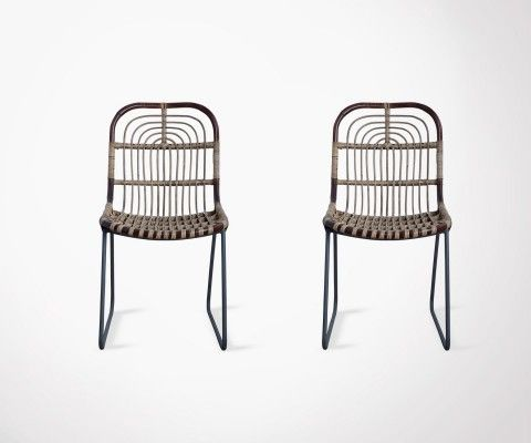 Set of 2 metal and rattan design chair KAWAM