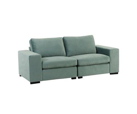 Canapé 2 places amovible en velours vert menthe SOL