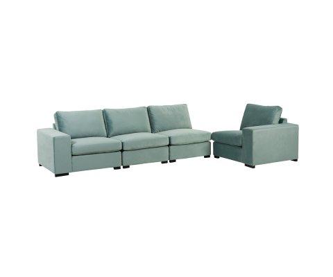 Canapé 2 places en velours vert menthe SOL
