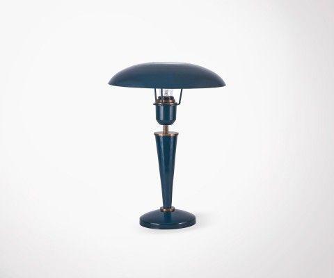 Lampe à poser métal bleu pétrole vintage OPAL