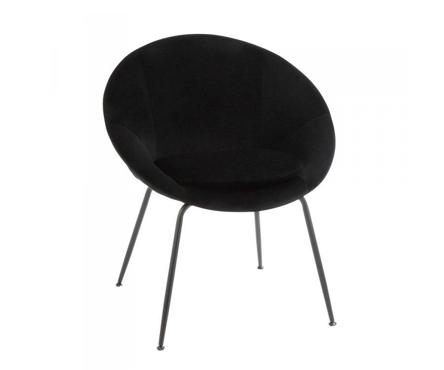 Petit fauteuil rond en velours noir IZIR