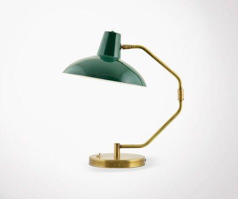 Lampe de bureau vintage vert et dorée HAMM