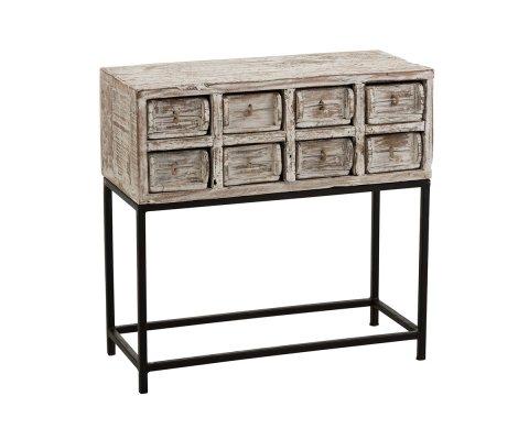 Console vintage 8 tiroirs en bois recyclé CAMILLE