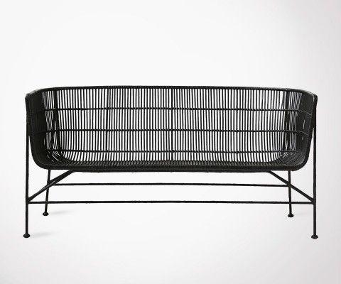 2 Seat Black Rattan Sofa BOMOKO