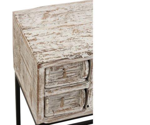Console vintage 8 tiroirs bois recyclé JULIE - J-line