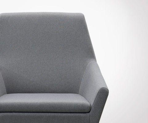 Fauteuil nordique tissu rembourré gris foncé KANT