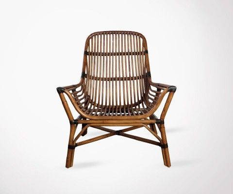 Outdoor Caramel Rattan Lounge Chair COLONY