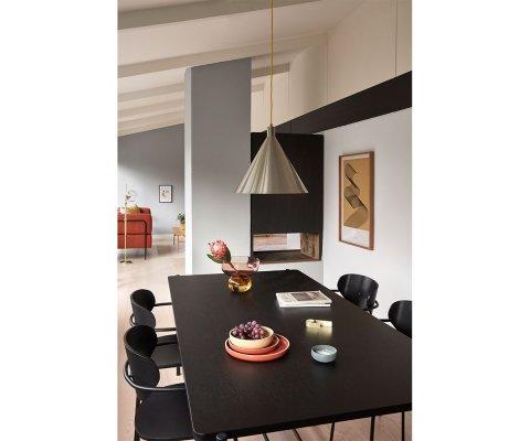 Table à manger 195x100cm métal et bois noir COLI