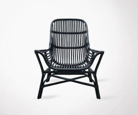 Outdoor Black Rattan Lounge Chair COLONY
