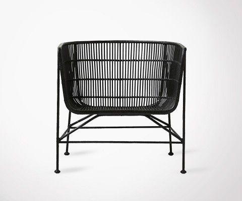 Large Seat Black Rattan Armchair BOMOKO