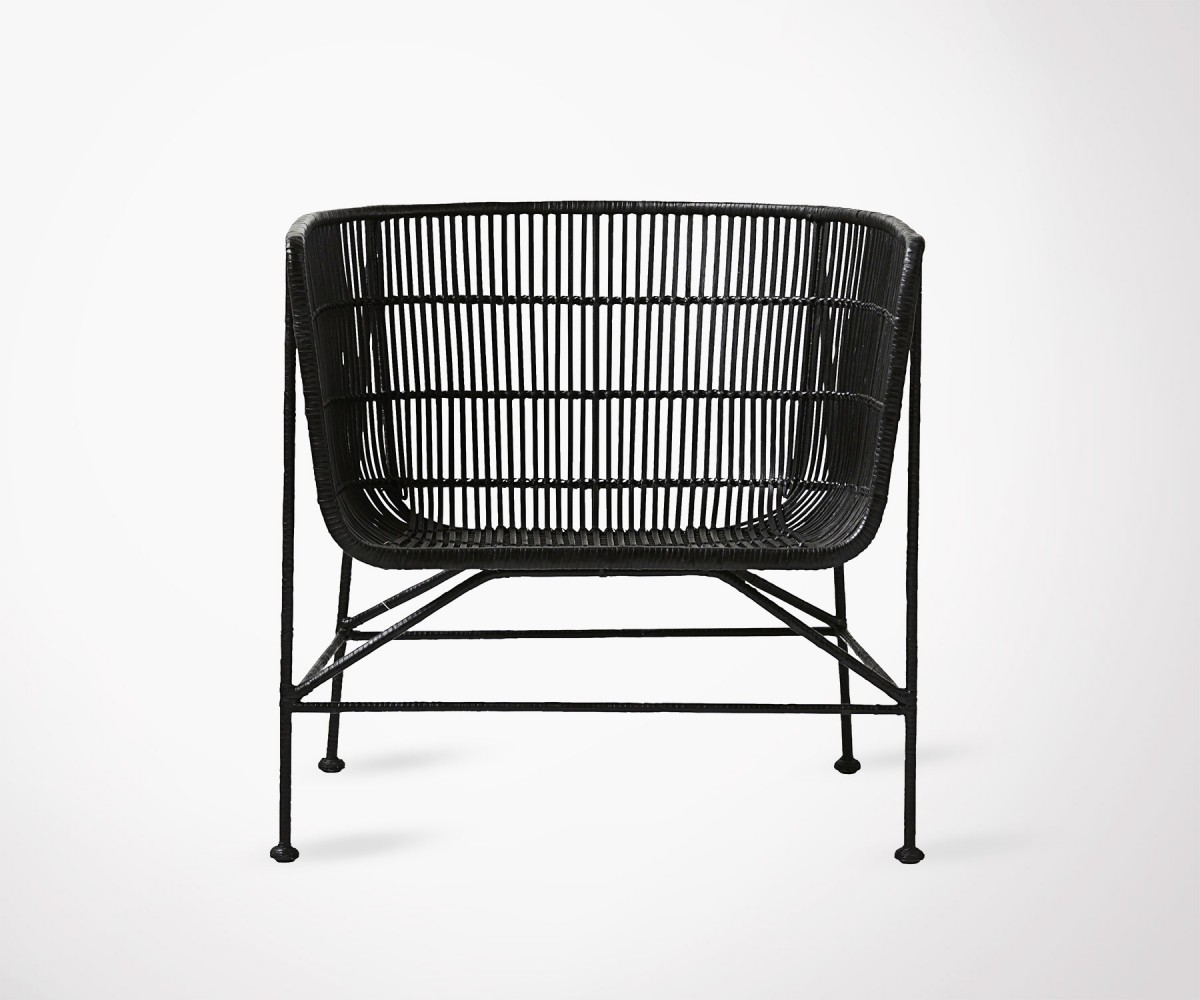 large fauteuil style ethnique en rotin noir house doctor. Black Bedroom Furniture Sets. Home Design Ideas
