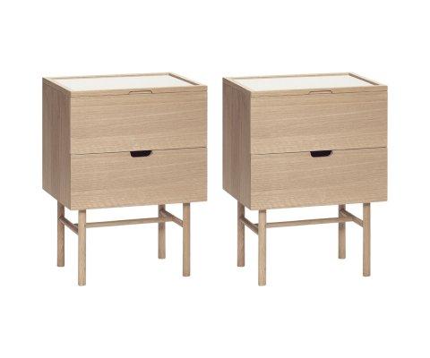Lot de 2 tables de chevet en bois avec tiroir ZATA
