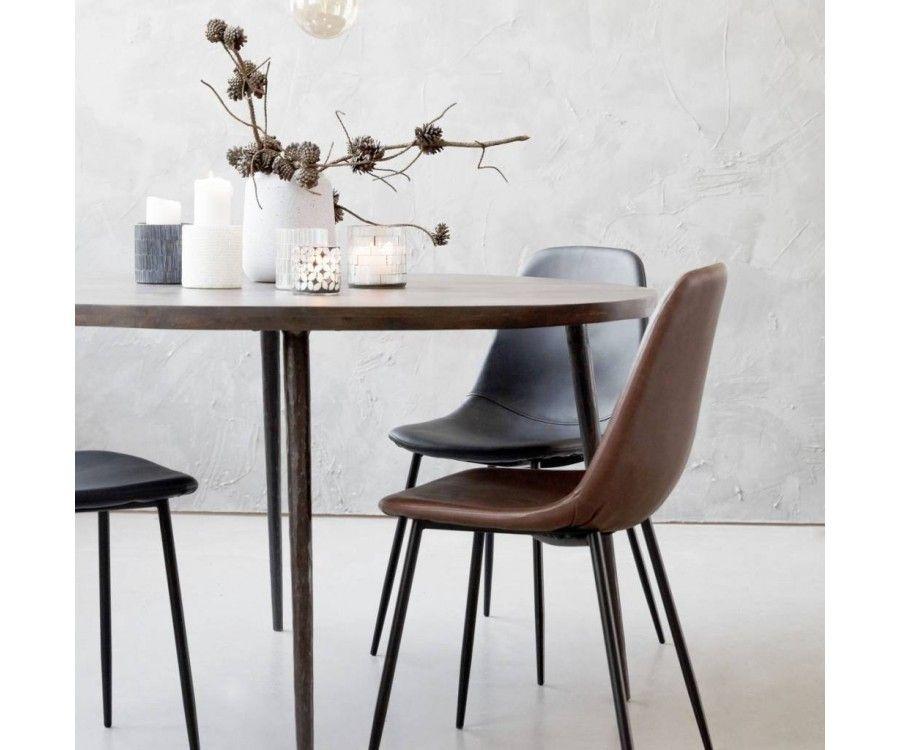 2 Chaises design moderne simili cuir chocolat LETAL